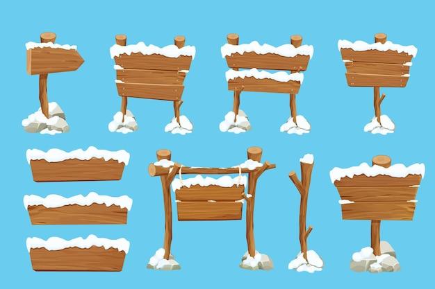 Stellen sie altes hölzernes leeres schild mit schnee im cartoon-stil ein