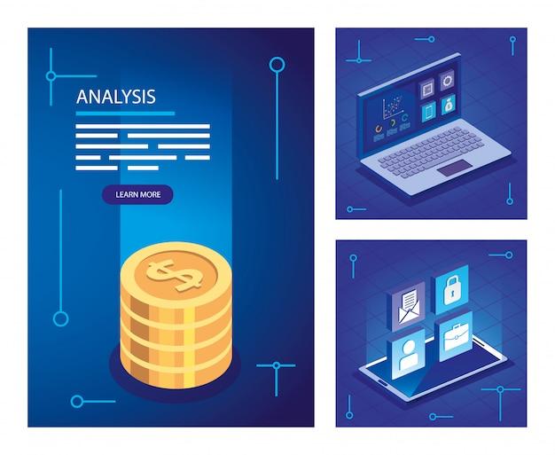 Stellen sie analysedaten-illustrationssatz ein