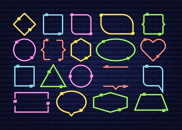 Stellen sie angebotsrahmen ein. leere vorlage mit designzitaten für druckinformationen. neon-symbol. vektorgrafik auf lager.