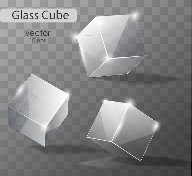 Stellen sie auf ein transparentes glas würfel in verschiedenen winkeln. realistisches objekt.