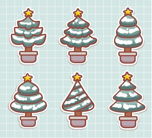 Stellen sie aufkleber des netten weihnachtsbaums ein, der mit schneevektor bedeckt wird. weihnachtsbaum in verschiedenen formen. kawaii-stil