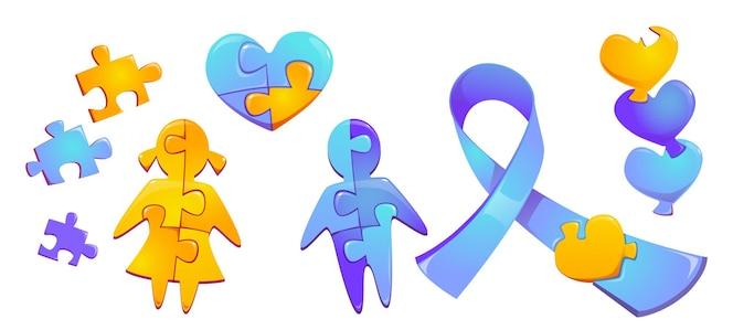 Stellen sie autismus-welttagbewusstsein bunte puzzleteile kind mädchen und junge silhouette herzfigur und blaues band lokalisiert auf weißen wand internationalen solidarität cartoon symbole symbole