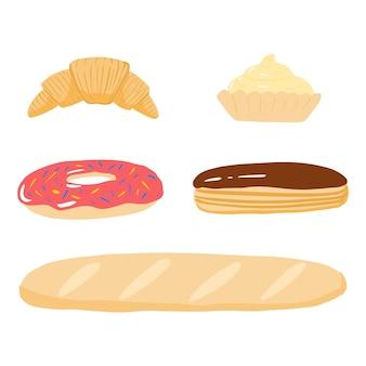 Stellen sie backwaren auf weißem hintergrund ein. cartoon baguette, donut, eclair, muffin, croissant.