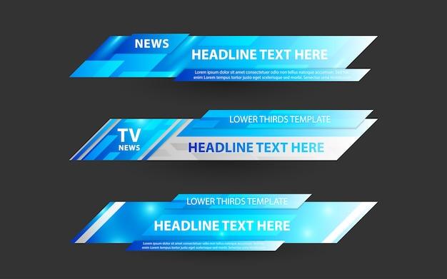Stellen sie banner und untere drittel für den nachrichtenkanal mit blauer und weißer farbe ein