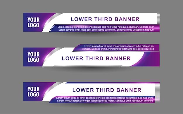 Stellen sie banner und untere drittel für den nachrichtenkanal mit lila und weißer farbe ein
