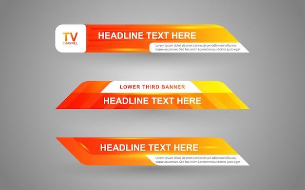 Stellen sie banner und untere drittel für den nachrichtenkanal mit orange und weißer farbe ein Premium Vektoren