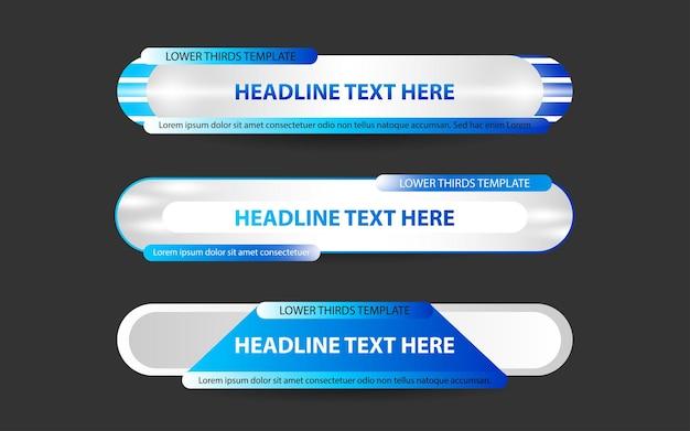 Stellen sie banner und untere drittel für den nachrichtenkanal mit weißer und blauer farbe ein