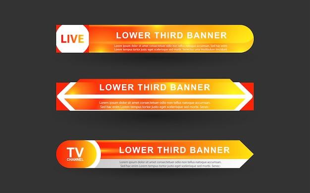 Stellen sie banner und untere drittel für den nachrichtenkanal mit weißer und gelber farbe ein