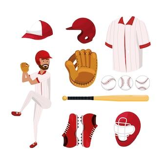 Stellen sie baseball-spieler und berufsuniform ein