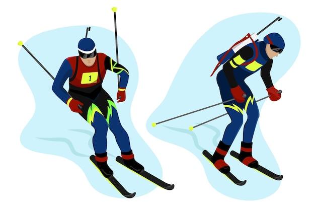 Stellen sie biathlet in gang, fährt ski und bedient sich mit stöcken wintersport-vektor-flacher stil