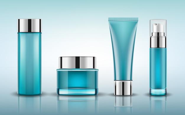 Stellen sie blaue kosmetische flaschen ein, die mock verpacken