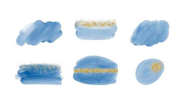 Stellen sie blaue pinselstrich-aquarellspritzer mit goldenem konfetti ein