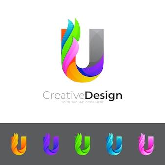 Stellen sie buchstabe u-logo mit buntem design ein