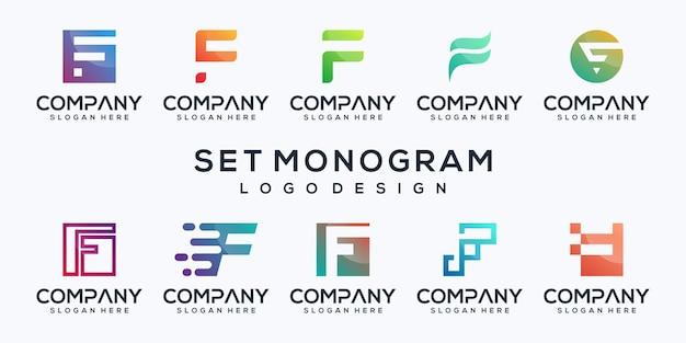 Stellen sie bündelbuchstaben f logoentwurf ein