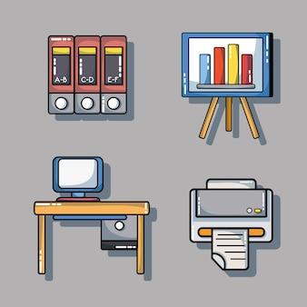 Stellen sie bürowerkzeug zur firmeninformations-berichtsvektorillustration ein