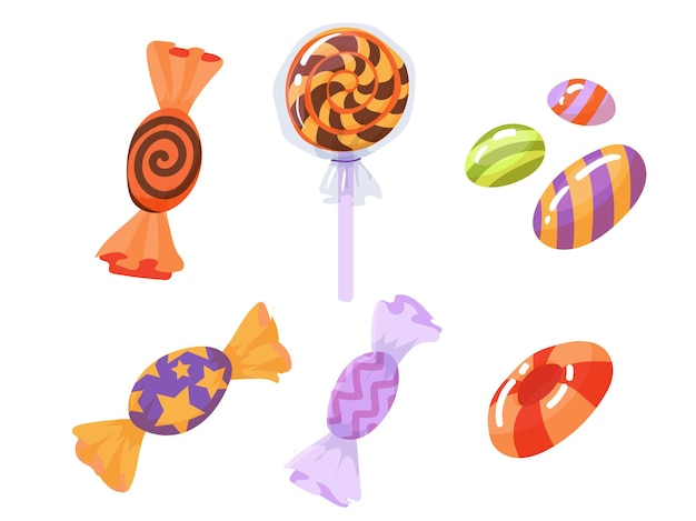 Stellen sie bunte bonbons für halloween-feier ein. farbiges karamell. vektorillustration lokalisiert auf weißem hintergrund.