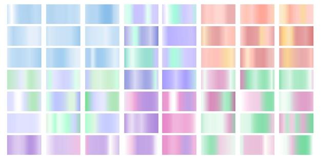 Stellen sie bunten pastellfarbverlauf chromfolien-texturhintergrund ein. vektor-vorlage aus gold, kupfer, messing und metall.