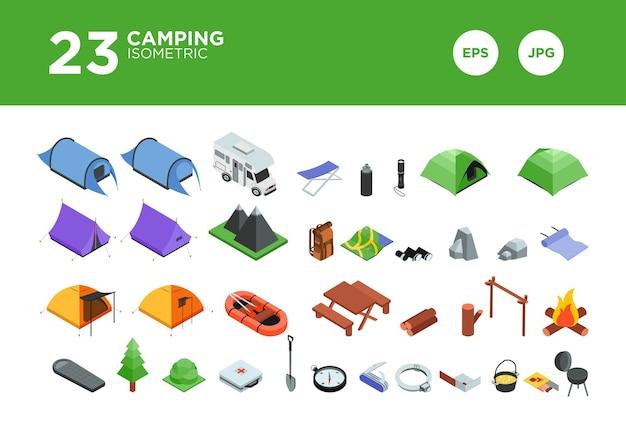 Stellen sie camping isometrischen designvektor ein