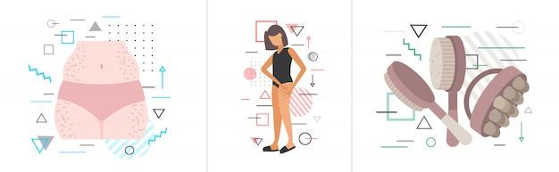 Stellen sie cellulite-problemzonen des weiblichen körpergewichtsverlust-fettdiät-anti-cellulite-massagekonzepts horizontal ein