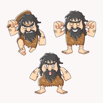 Stellen sie charakter eines höhlenmenschen im steinzeitalter mit unterschiedlicher art, gesichtsausdruck und tragender schlägerillustration ein