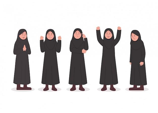 Stellen sie charakterausdruck des kleinen hijab-mädchen-cartoons ein