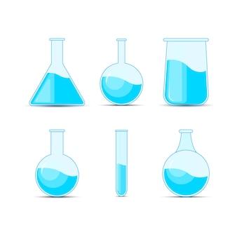 Stellen sie chemische flasche, flaschen, tränke für halloween und chemie ein.