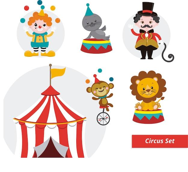 Stellen sie circus ilustrationen ein