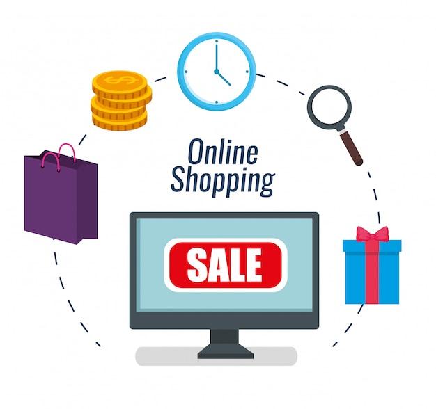 Stellen sie computer-e-commerce auf online-shopping ein