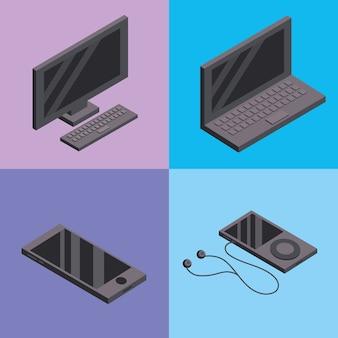 Stellen sie computer- und smarphone-technologie-dienste ein