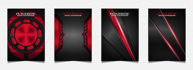 Stellen sie cover-design-vorlage mit futuristischem rotem und schwarzem hintergrund ein