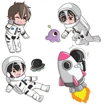 Stellen sie cute boy auf astronus kostüm. traum job konzept.