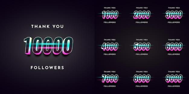 Stellen sie danke 1000 follower auf 10000 illustrationsschablonendesign ein