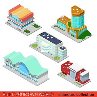 Stellen sie das abstrakte einkaufszentrum-geschäftszentrum-wolkenkratzermarktkonzept des stadtbausteins ein. flach isometrisch