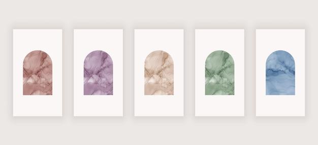 Stellen sie das boho-design für social-media-geschichten ein. wandkunstdruck