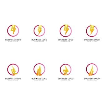 Stellen sie das donner-tech-logo, den donner und die technologie, das kombinationslogo mit dem roten und gelben 3d-stil ein