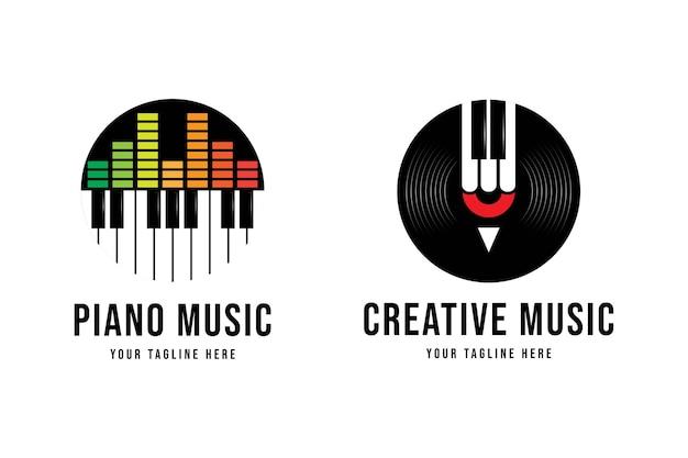 Stellen sie das flache logo des einfachen klaviermusikstudios ein