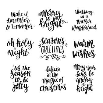 Stellen sie das handzeichnungszitat in einem trendigen kalligraphischen stil für frohe weihnachten ein