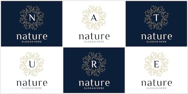 Stellen sie das kreative naturlogo mit dem anfangsbuchstaben ein