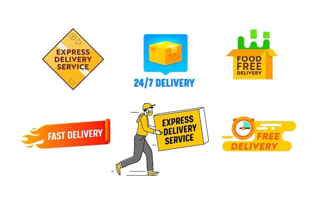 Stellen sie das logo der schnellen lieferung ein, das auf weißem hintergrund lokalisiert wird. logo des logistikunternehmens im minimalistischen stil, fracht- und warenversandservice, pakete und transportetiketten für lebensmittelbestellungen. vektorillustration