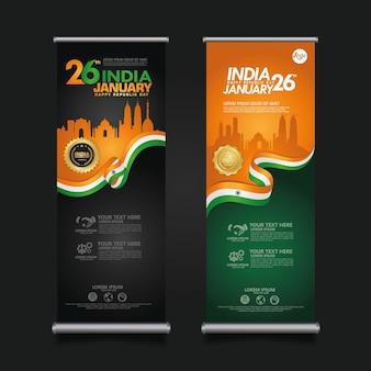 Stellen sie das roll-up-banner india happy republic day ein