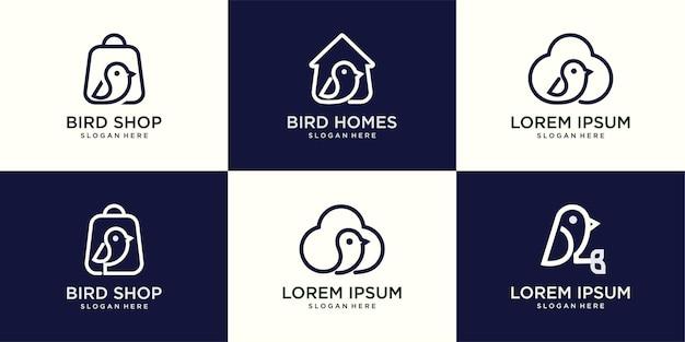 Stellen sie das symbol vogellinie kunstlogo, hausvogel, tasche, wolke ein