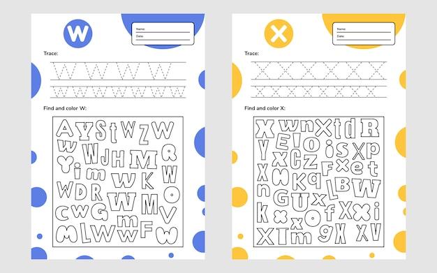 Stellen sie das trace letter-arbeitsblatt a4 für kinder im vorschul- und schulalter ein. spiel für kinder. finden und färben.