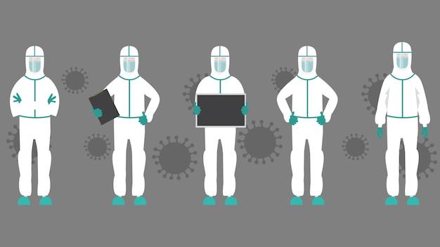 Stellen sie den charakter des arztes ein. medizinisches personalkonzept im krankenhaus. illustration