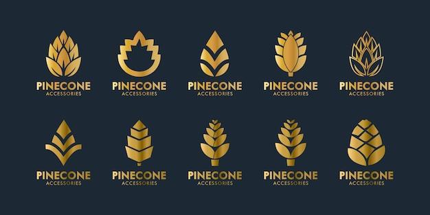 Stellen sie den eleganten logo-designvektor des kiefernkegels ein