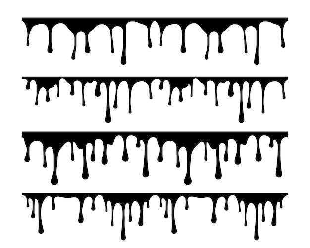 Stellen sie den flüssigen vektor ein. schwarz-weiße silhouette tropfenfarbe.