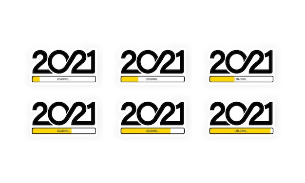 Stellen sie den fortschrittsbalken ein, der das laden von 2021 anzeigt