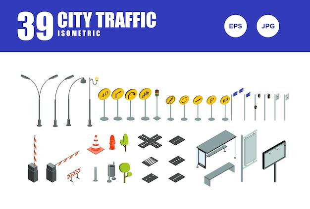 Stellen sie den isometrischen designvektor des stadtverkehrs ein