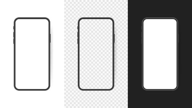 Stellen sie den leeren bildschirm des realistischen smartphones ein, telefon lokalisiert auf transparentem hintergrund. vorlage für die benutzeroberfläche für infografiken oder präsentationen.