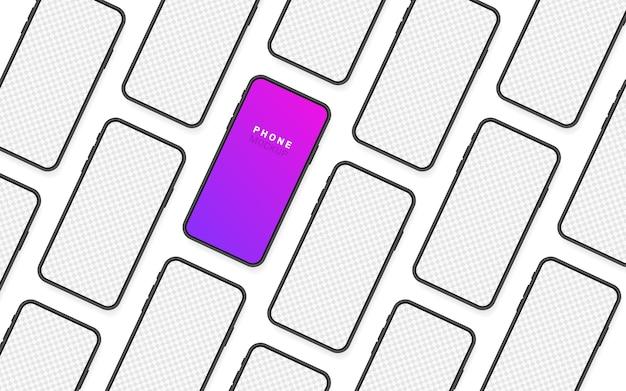 Stellen sie den leeren bildschirm des smartphones und das telefon ein. neues telefonmodell. vorlage für infografiken für die benutzeroberfläche der präsentation. illustration.