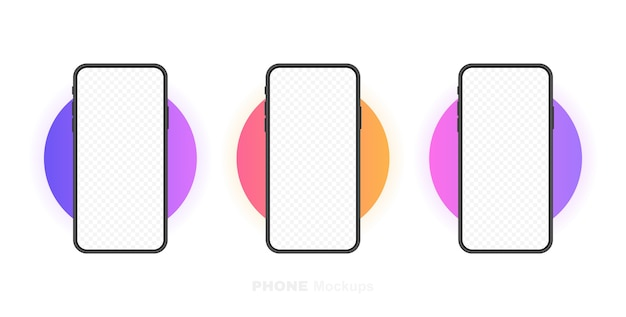 Stellen sie den leeren bildschirm für smartphones und das telefon ein. vorlage für infografiken, präsentationen oder mobile apps. benutzeroberfläche. moderne illustration.